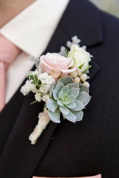 Grooms rose Boutonniere - Roses and Succulent pink green vintage wedding #vintagewedding photo by Heart Box Weddings