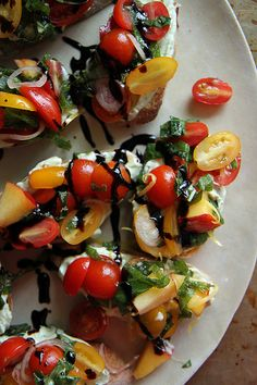 Peach and Tomato Crostini with Basil Lemon Ricotta