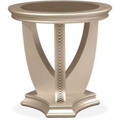 Allegro End Table Platinum (5,685 HNL) ❤ liked on Polyvore featuring home, furniture, tables, accent tables, end table, gold, art deco table, art deco furniture, art deco side table and colored furniture