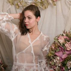 NWOT Handmade Sheer Lace Robe Liquidation Sale from my now closed online boutique. Super sexy 100%  lace robe. Very sheer but classy. Perfect for bridal shower or bachelorete gift or any other intimate occasion. Off white, knee length on average size woman. Intimates & Sleepwear Robes