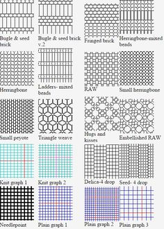 Free printable Shala's Graph Paper--clicking on the desired thumbnail brings up a sheet of it at the site  ~ Seed Bead Tutorials