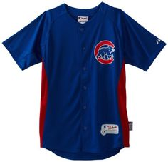 MLB 7801 Chicago Cubs Authentic Cool Base Batting Practice Jersey,Youth, Royal/Red, Small Majestic