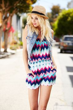 Strapless Chevron Print Romper: Charlotte Russe ~ one of my favorite stores