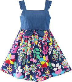 Sunny Fashion Flower Girls Dress Denim Back To School Sling Sundress Size 4-10 #SunnyFashion #Everyday