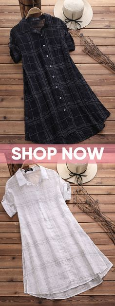 Long blouse outfit - OFF! Vintage Plaid Short Sleeve Long Blouses for Women White,Black fashion fashion causual outfits Short Kurti Designs, Kurta Designs Women, Blouse Designs, Sleeve Designs For Kurtis, Mode Outfits, Fashion Outfits, Fashion Fashion, Fashion Vintage, Fashion Women