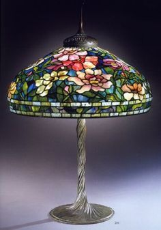 A Peony Leaded Glass and Bronze Table Lamp, Tiffany Studios