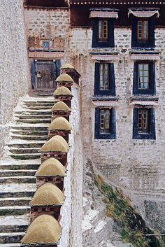 A stairway at the Potala Palace. Lhasa, Tibet