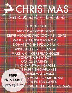 Free customizable Christmas Bucket List printable.