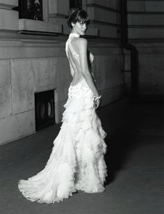 Cymbeline bridal ruffled Backless wedding gown low back bride bridal perfect open back statement sexy wedding dress