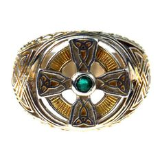 The Power of the Emerald Isle Celtic Cross Ring Men's ($115) ❤ liked on Polyvore featuring men's fashion, men's jewelry, men's rings, mens watches jewelry, mens rings, mens celtic cross ring and mens emerald rings