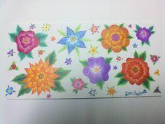 Flores desenhadas em papel e pintadas à mão com lápis de côr /flower painted on paper by hand with color pencils.