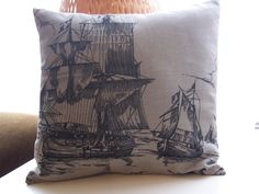 Handmade Nautical Pillow Cover and insert 12 3/4 inches by 12 3/4 inches. £10.00, via Etsy.