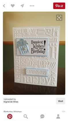 Happiest Birthday Wishes, Build a Cupcake Punch, Cbug Happy Birthday Embossing Folder photo only Birthday Cards For Women, Handmade Birthday Cards, Happy Birthday Cards, Greeting Cards Handmade, Birthday Wishes, Card Birthday, Diy Birthday, Birthday Gifts, Karten Diy
