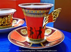 Rosenthal's Versace Iconic Heroes Gold Winged Coffee Cup & Saucer