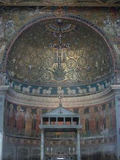 De nis van de San Clemente (Jezus aan het kruis met de duiven als symbool voor de apostelen, ook de schapen zijn een symbool voor de apostelen met Jezus ook als een schaap in het midden) ~ dag 3