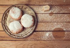 Jam doughnuts with icing sugar for Hanukkah holiday celebration. Jam doughnuts w , Baked Doughnuts, Donuts, Healthy Cake, Holiday Dinner, Your Recipe, Food Festival, Food Inspiration, Holiday Recipes, Beignets