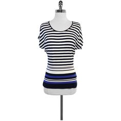 Pre-owned Escada Navy & White Striped Short Sleeve Top ($89) ❤ liked on Polyvore featuring tops, navy blue tops, short sleeve tops, white top, scoopneck top and navy tops