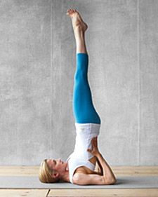 """Shoulder Stand to Plow: Releases tight hip flexor muscles, which can constrict the digestive organs. Calms the nervous system and relieves stress. HEY MANDY! Who knew what you and Dylan were doing was actually """"something""""?! HaHa"""