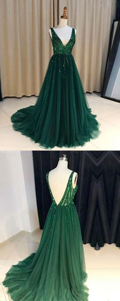 Emerald Green Sequins Beaded V-neck Tulle Open Back Evening Dresses 2018 New Arrivals Prom Dresses