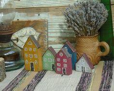 Домики деревянные с ручной росписью для декорирования и фотосессий (2) - купить или заказать в интернет-магазине на Ярмарке Мастеров | Набор деревянных домиков для декора или…