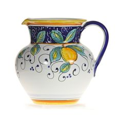 This hand painted pitcher is a beautiful example of Italian ceramics from Umbria. This lovely piece of Italian pottery will add to your Italian decor or Mediterranean decor. All our wine pitchers are lead-free and can be used or displayed. Pottery Painting, Ceramic Painting, Vases, Cerámica Ideas, Mediterranean Design, Italian Pottery, Ceramic Pitcher, Pottery Designs, Ceramic Pottery