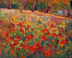 Poppies - Contemporary Impressionism Art Gallery in San Diego - Modern Landscape Oil Paintings for Sale by Erin Hanson #OilPaintingLandscape