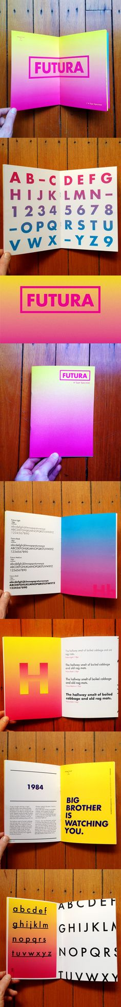 Futura Type Specimen  Wow- not overly fussy, but the use of colour here just draws the eye in.  Great use of gradient.