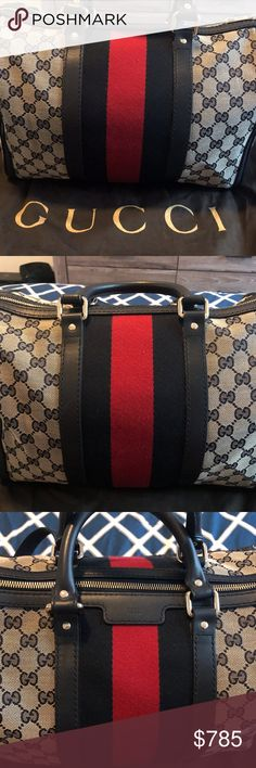 f3d079440 Gucci Vintage Medium Web Boston Bag NEW NEVER USED. GG canvas with navy/red