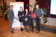 70 Jahre Feier von Jugend am Werk im Wiener Rathaus  Foto: Christian Oxonitsch  Lisa Kössler, Sonja Wehsely, Gabriele Mörk und Levente Bertalan (v.l.n.r.).