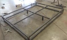 You design it, Ill build it! The possibilities are endless. This listing covers many variations of this bed frame. I have made dozens of these frames, and no two frames have been identical. Primary materials are 2 x 14ga square tubing, and 2 x 1/8 angle iron for the rails. The components of the frame are joined together by rounded socket cap screws, with decorative acorn nuts and washers. Standard 2x4s should be used to rest on the rails to support the box spring, or mattress (not included)…