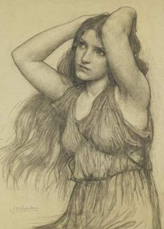 "John William Waterhouse, ""Flora and the Zephyrs (study)"", charcoal"