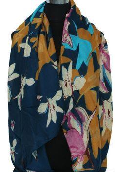 Sjaal blauw met bloemen