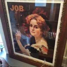 """Vintage Print of 1800's """"JOB"""" Rolling Papers, Framed, Glass Approx 20 x 16, Frame larger by PaintedLadyAntiques on Etsy"""