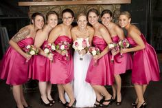 Don't know how to pin this on sydneys board. but awesome Hot Pink and Black Wedding
