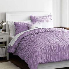 Ruched Duvet Cover + Sham, Lavender