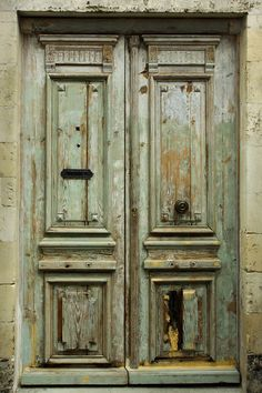 Rustic french door Old antique door in France with lots of