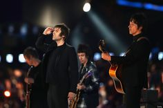 Liam Gallagher of Beady Eye performs during the Closing Ceremony on Day 16 of the London 2012 Olympic Games at Olympic Stadium on August 2012 in London, England. (Photo by Hannah Johnston/Getty Images) Liam And Noel, Beady Eye, Noel Gallagher, Classic Songs, Wonderwall, London Photos, Spice Girls, Best Songs, Olympians