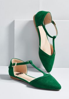 Turn Back Prime T-Strap Flat - The best way to relive memories of jaunts enjoyed in these emerald green flats? Buckling into their T-straps and letting the good times roll - again! With each step taken in the pointed toes and faux suede of this retro pair, you'll recall fond moments while forming new, unforgettable ones.