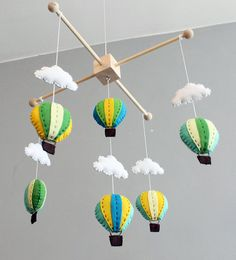 CHOOSE YOUR COLOURS - diy hot air balloon baby mobile kit