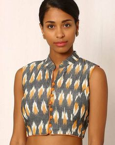 Buy Grey & Orange Indie Picks Handwoven Ikat Sleeveless Cotton Blouse