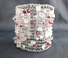 Knitted wire bracelet with Rose Quartz and pink Swarovski Crystals, by PollyAJewellery