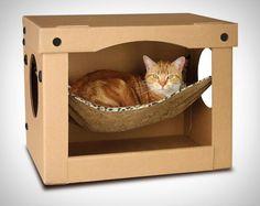10 ideias criativas para dar um upgrade nas caixas de papelão do seu gato