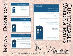 DIY Wedding Invite set TEMPLATE Instant Download printable (Doctor Who Tardis blue 5X7 with 3 cards)