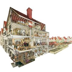 Cutaway drawing representing a London merchant's house in around 1640.