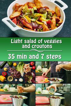 Light salad of veggies and croutons