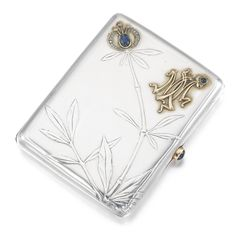 A Fabergé jewelled silver cigarette case, Moscow, 1899-1908, the lid cast and chased with flowering bamboo, the bloom set with a cabochon sapphire and rose-cut diamonds, the gold monogram MM and thumbpiece set with cabochon sapphires, struck K.Fabergé beneath the Imperial Warrant, 84 standard, scratched inventory number 13174