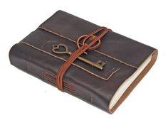 Brown Leather Journal with Heart Key Bookmark by boundbyhand, $33.00