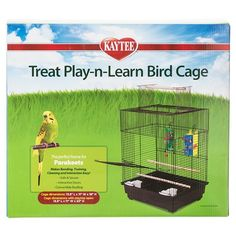 """Kaytee Treat Play-n-Learn Bird Cage - Parakeet - 13.5""""""""L x 11""""""""W x 18""""""""H (22"""""""" with Playtop Open)"""