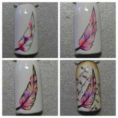 Pin by Valentina on nails Nail Art Plume, Feather Nail Art, Flower Nail Art, Diy Nails, Cute Nails, Pretty Nails, Painted Nail Art, Arte Floral, Nail Decorations