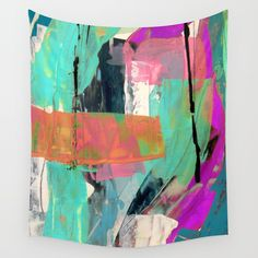 [Still] Hopeful - a bright mixed media abstract piece Wall Tapestry. #painting #acrylic #watercolor #ink #street-art #abstract #expressionism #blanket #comforter #wall-art #wall-decor #fine-art #case #shower-curtain #pillow #rug #carry-all #tapestry #phone #towel #neon